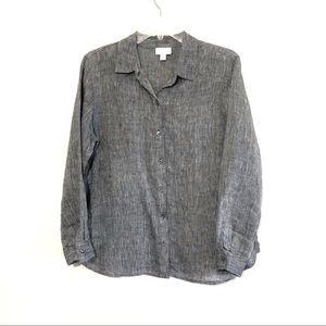 J Jill love linen grey button down shirt lagenlook